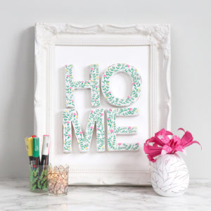 Framed HOME cardboard letters updated with POSCA 1M makers