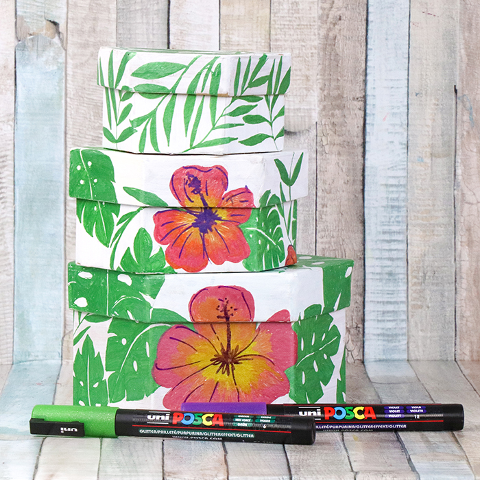 Tropical nesting boxes created with POSCA pens