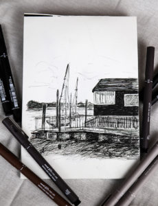 Sketch a landscape with uni-PIN pens (drawing by Ella Johnston)
