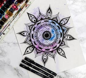 Mandala with watercolour and PIN pens