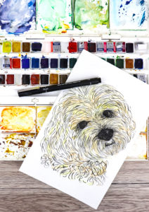 Draw your pet with uni-PIN brush pen (drawing by Ella Johnston