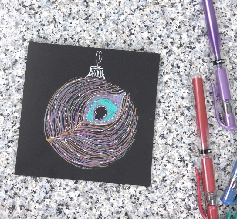 SIGNO peacock bauble card