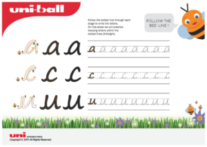 An image of a dotted free worksheet - handwriting development
