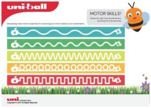 An image of a worksheet for motor skills development - handwriting development