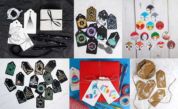 Christmas gift tag illustration ideas by artist Ella Johnston