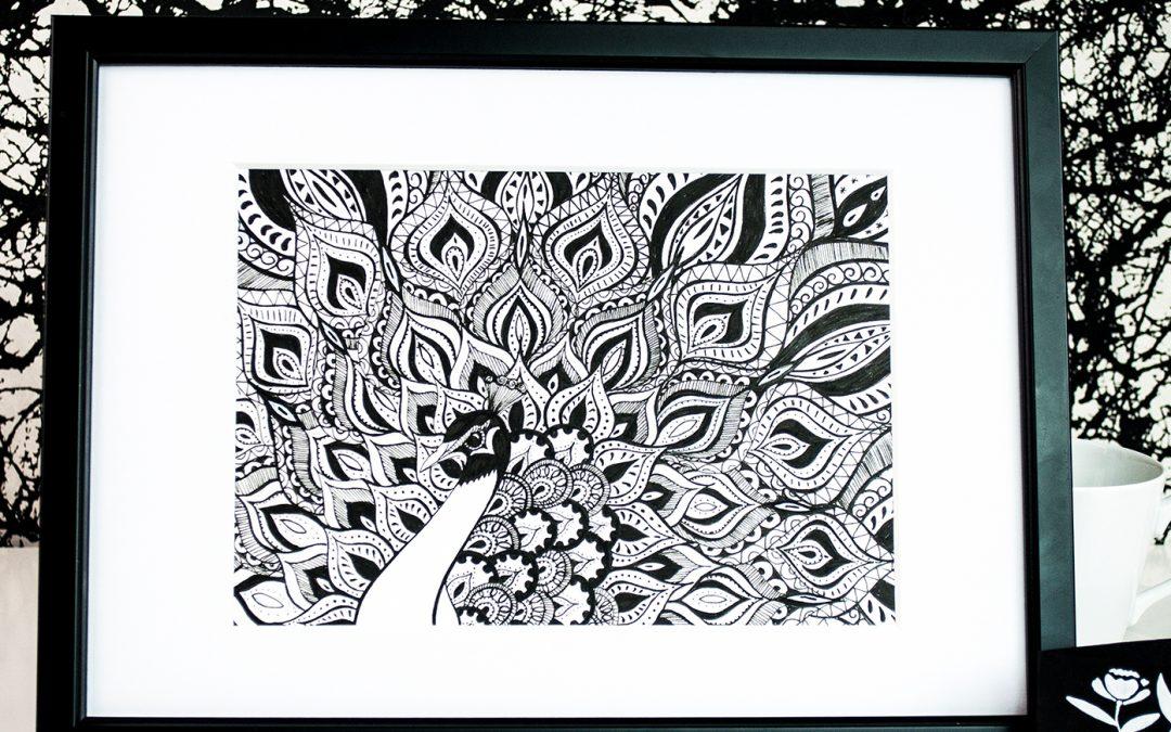 Create an ornate peacock artwork with uni-PIN pens