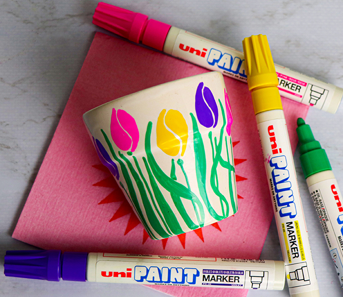 customise pots with paint markers