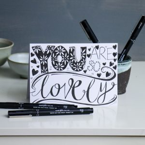 Hand-lettering card with uni-PIN pens