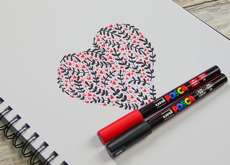 Make an illustrated patterned heart motif with POSCA 1MR pens