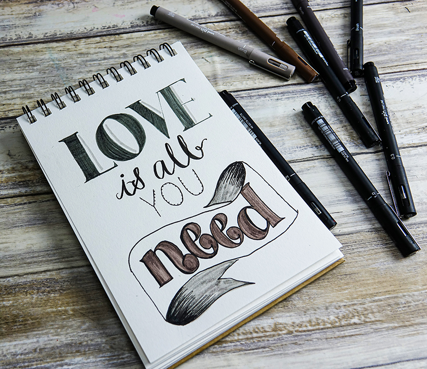 Practice hand-lettering: calligraphy guide uni-PIN pens