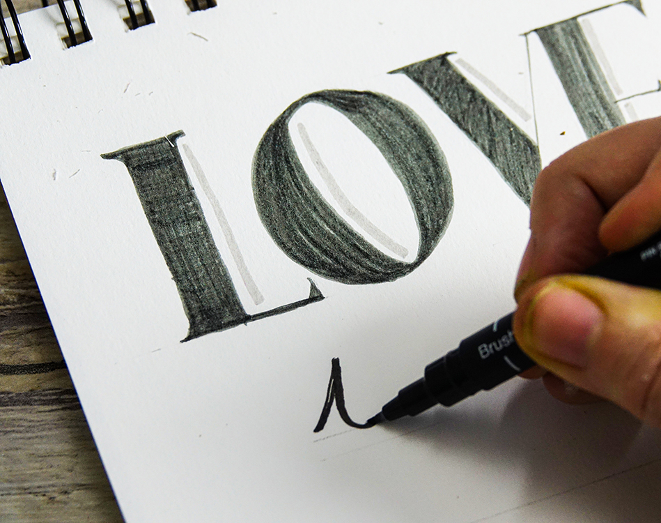 Practice hand lettering with uni-PIN