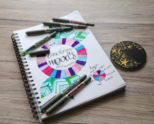 Mood tracker journal with Eye pens