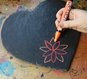 Update a slate heart with chalk pens