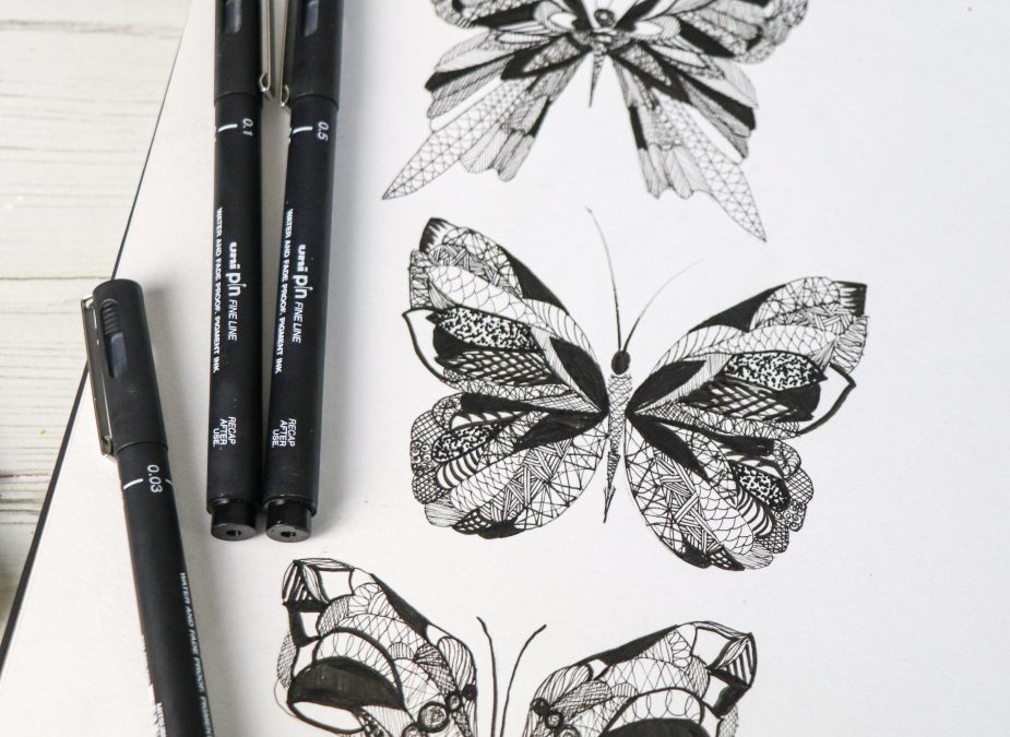 Make intricate butterfly designs with PIN pens