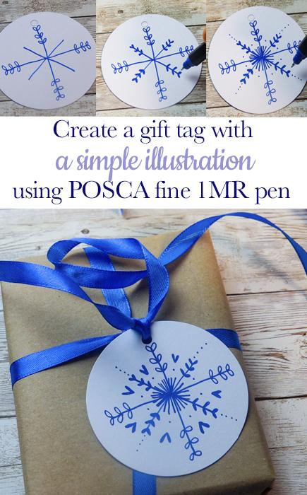 Make a snowflake tag with POSCA