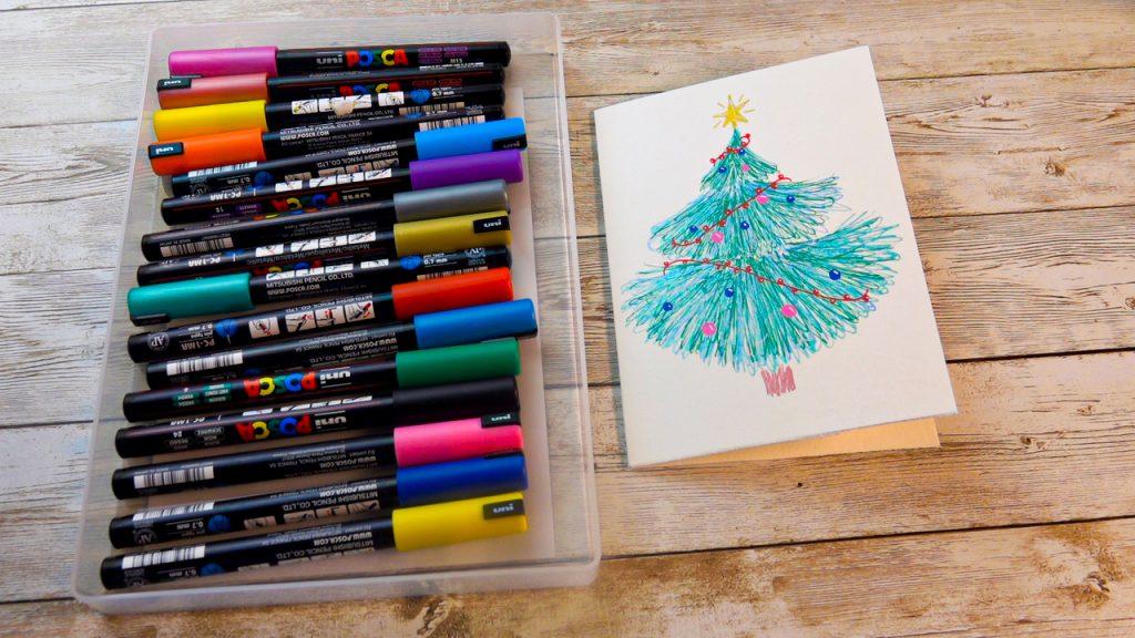 Christmas tree card with POSCA