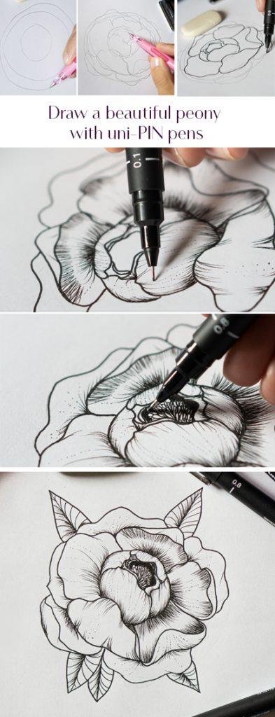 Draw a beautiful peony with uni-Pin pens
