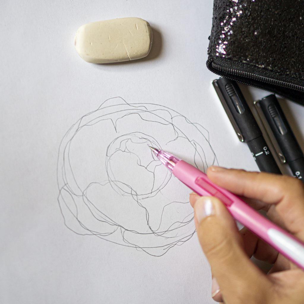 Draw a beautiful flower with uni-PIN pens