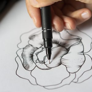 Draw a beautiful peony with uni-Pin pens