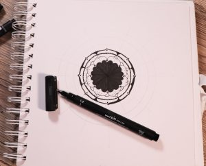 Draw a rosette-style mandala