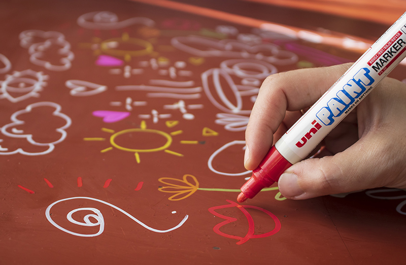 Get busy customising with uni-Paint markers