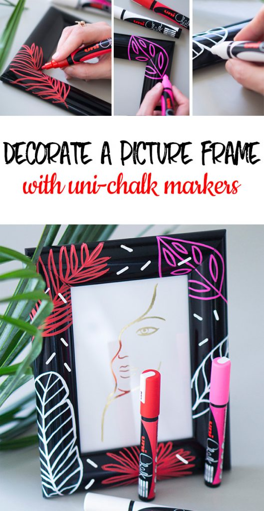 Decorate a frame with uni chalk markers