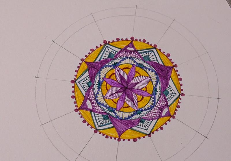 coloured pen mandala