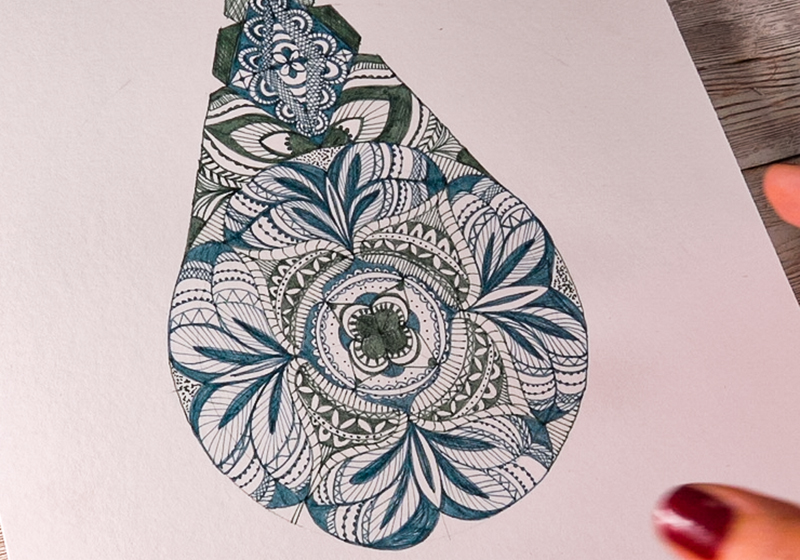 Draw with fine line pens